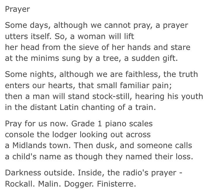 Carol ann duffy prayer