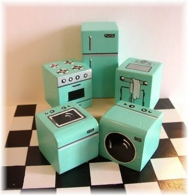 painted blocks for dollhouse furniture