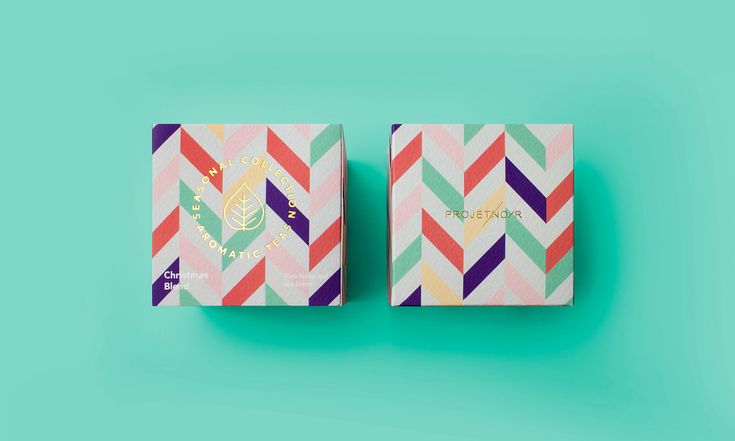 "Packaging Design for Aromatic Teas by Projet Noir ""Through bold colours, textures and geometry, the packaging reflects the harmony of the diverse exotic ingredients that come together in these seasonal aromatic tisanes."" Projet Noir is a boutique..."
