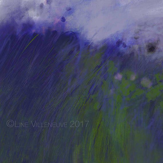 Dessin peinture paysage impressionniste champ fleurs
