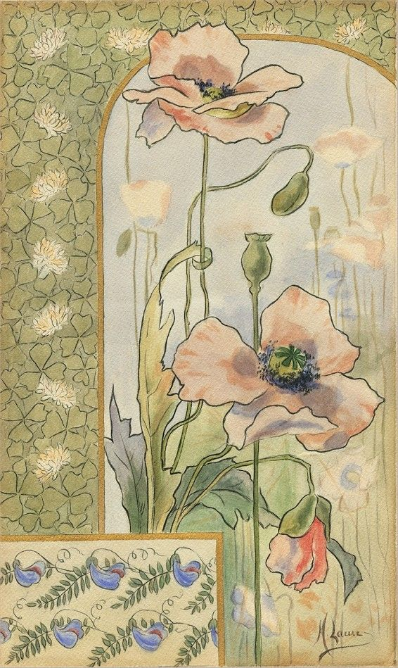 M. Laure. Decorative aux Coquelicots (Poppies).  c. 1900. Watercolor.