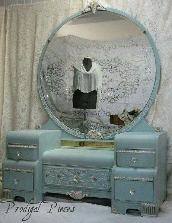 Beautiful paint job on this gorgeous Waterfall Art Deco Vanity Dresser with  Bench - Shabby Chic Style featuring Intricate Carvings & Large Round Mirror  ... - 286 Best Vanity Fair Images On Pinterest Vanity Set, Antique