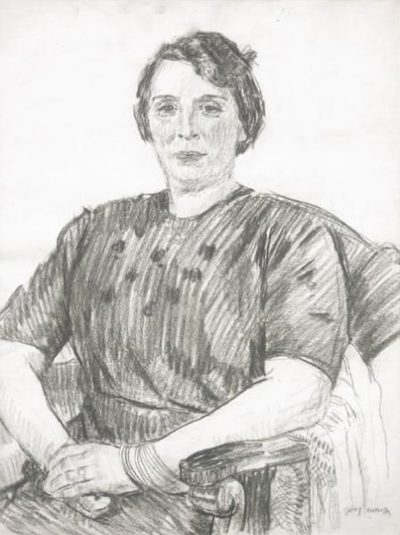 Józef MEHOFFER ,Portret kobiety , kredka, papier, 60 x 46 cm