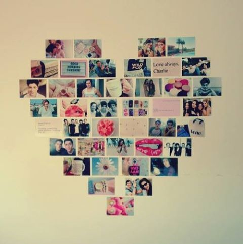 Photo wall in a heart