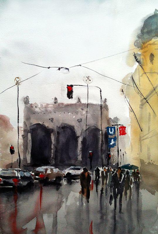 #barbaravontannenberg #newdivision #illustration #watercolour #gouache #textured #streetscene