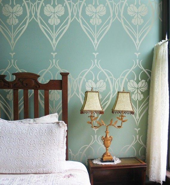 wall stencil rachel 39 s garden reusable stencils instead of wallpaper