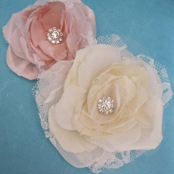 Wedding hair flower Ivory Blush Silk Lace Rose hair set