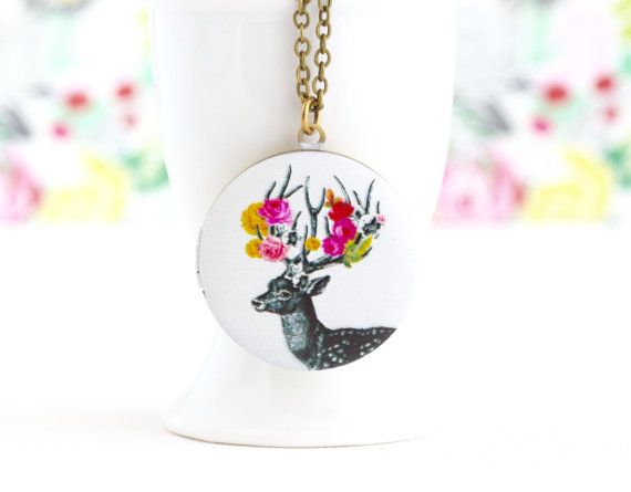 Woodland Locket, Deer, Christmas Locket, Reindeer Locket, Photo Locket, Painted Locket Necklace, Gift For Young Woman, Gift For Her by…