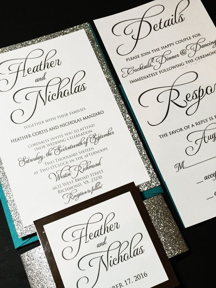 reply to wedding invitation m%0A Teal and Silver Glitter Wedding Invitation  Calligraphy Wedding Invitation   Modern Wedding Invitation  HEATHER