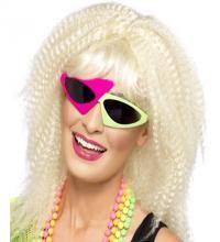 Gafas de Sol Verde y Rosa de los Años 80. Complemento ideal y de Alta Calidad para nuestros disfraces de estética de los años 80, Divas, cantantes o estrellas del Pop, Rock...