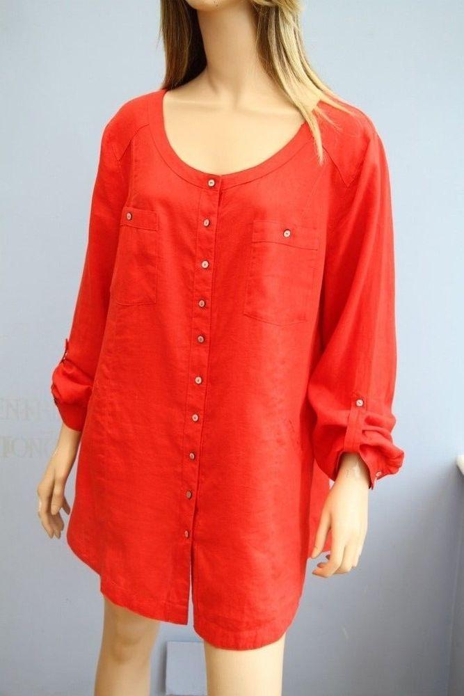 ea5358d449e Monsoon Orange Linen Long Sleeve Blouse Top Size 16  fashion  clothing   shoes  accessories  womensclothing  tops (ebay link)