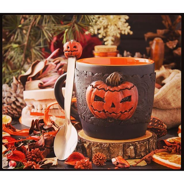 Halloween is approaching-- by magic Pumpkin mug for witches punch and get free teaspoon -- #giftideas #halloween #hallowenparty #polymerclay #bywilddrago #wilddragocraftshop Here you can see my work. And do you know where you can buy beautiful gifts from polymer clay for him, for her, for mum, for dad, for a friend to all. @WildDrago_CraftShop