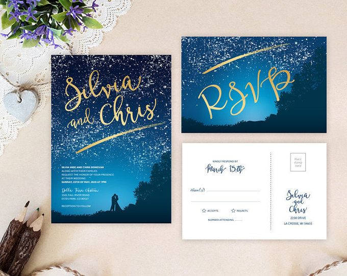 Under the stars wedding invitations printed | Romantic wedding invites| Evening wedding reception | Bride and groom wedding invitations