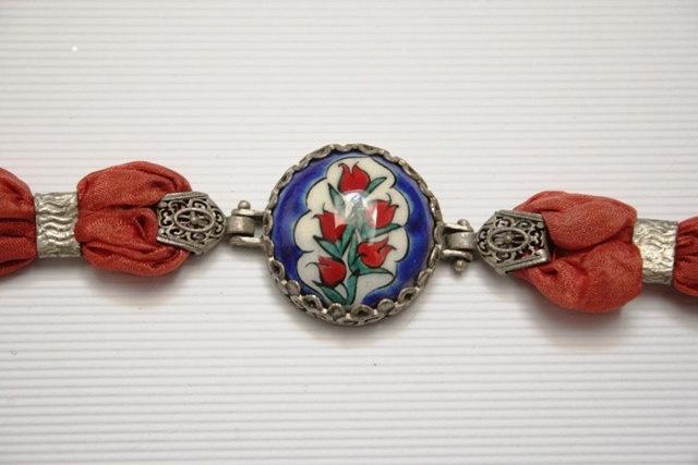 Turkish Hand painted Hand made Ceramic Cini Bracelet. $22.00, via Etsy.