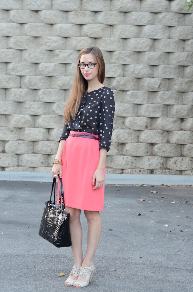 mlovesm the 9 to 5 #pink #dotsSkirts 2Dayslook, Pink Skirts, Outfit Posts, Cute Outfits, Nice Work, Looks Book, Look Books, Pencil Skirts, Work Outfits