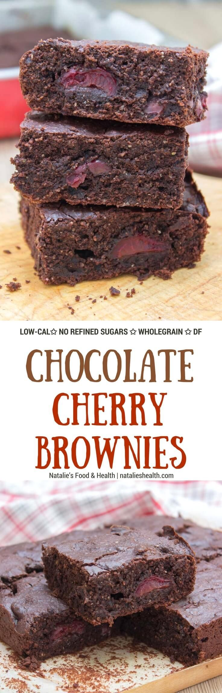 Rich, decadent, and chocolatey, these refined sugar-free Dark Chocolate Cherry Brownies are destined to delight you. Made with all HEALTHY ingredients, loaded with dark chocolate and sweet cherries, these brownies are truly a chocolate lover's dream! #hea