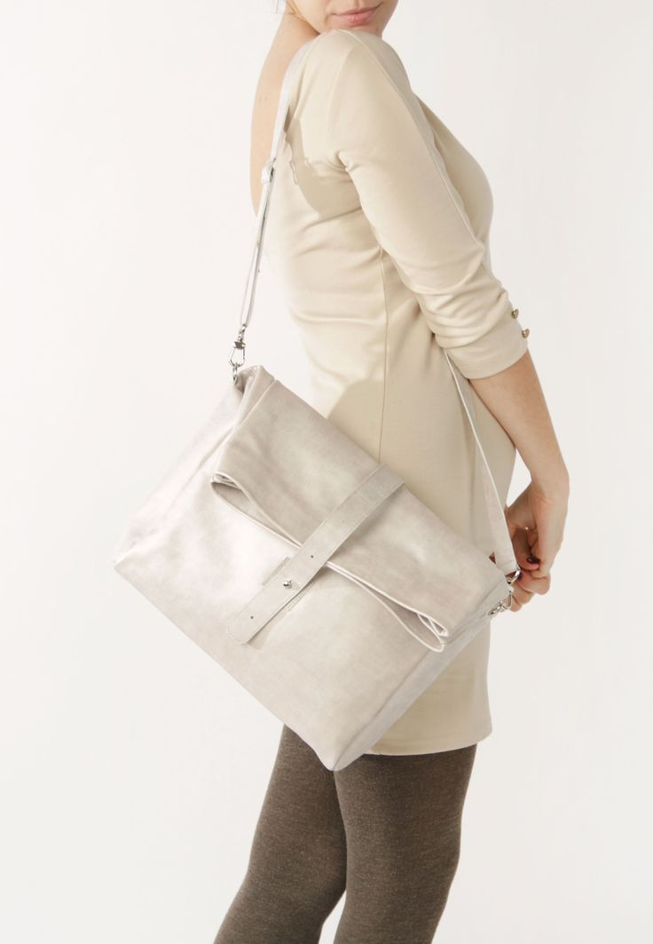 Beige Leather Bag by A-Rada / Leather Crossbody Handbag / Leather Cross Body Bag