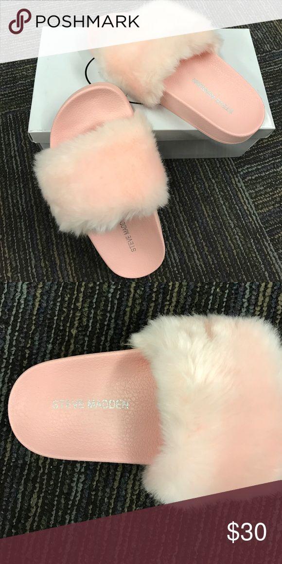 Steve Madden Kids Pink Flip Flops Pink fur kids flip flops by Steve Madden. So cute and fun for the summer. Never worn and in the box! Steve Madden Shoes Sandals & Flip Flops