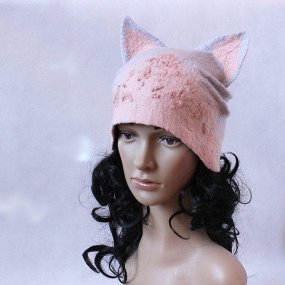 Custom order....Felted hat cat pussyhat pink gray by EsartFelt
