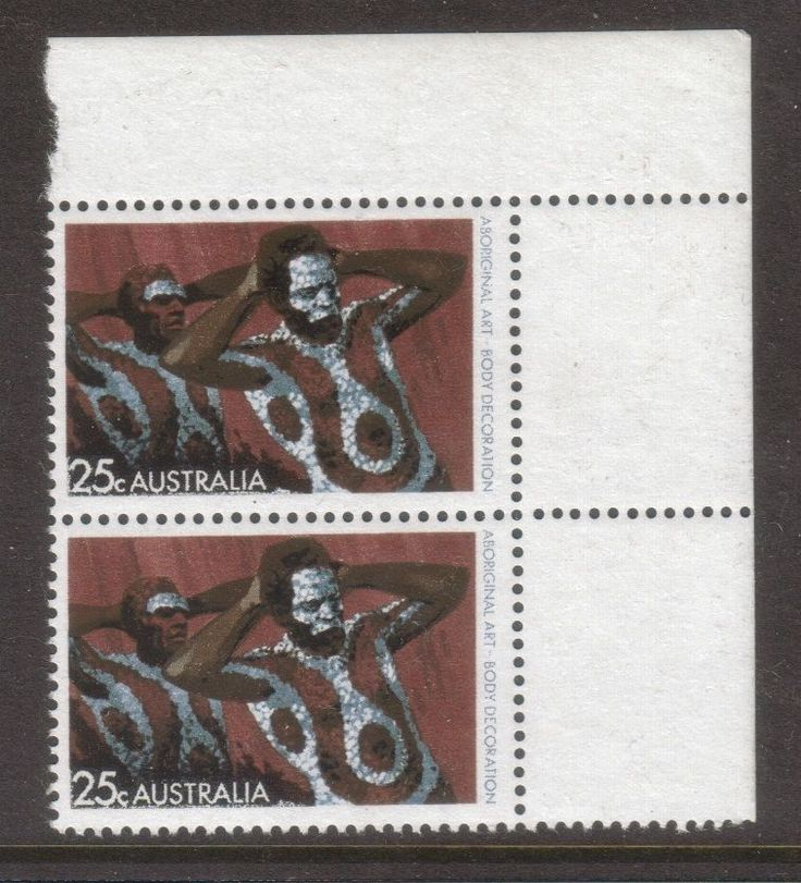 1971 Aboriginal Art 25c Body Decoration Corner Block of 2 (White Paper) MUH in Stamps, Australia, By Type   eBay!
