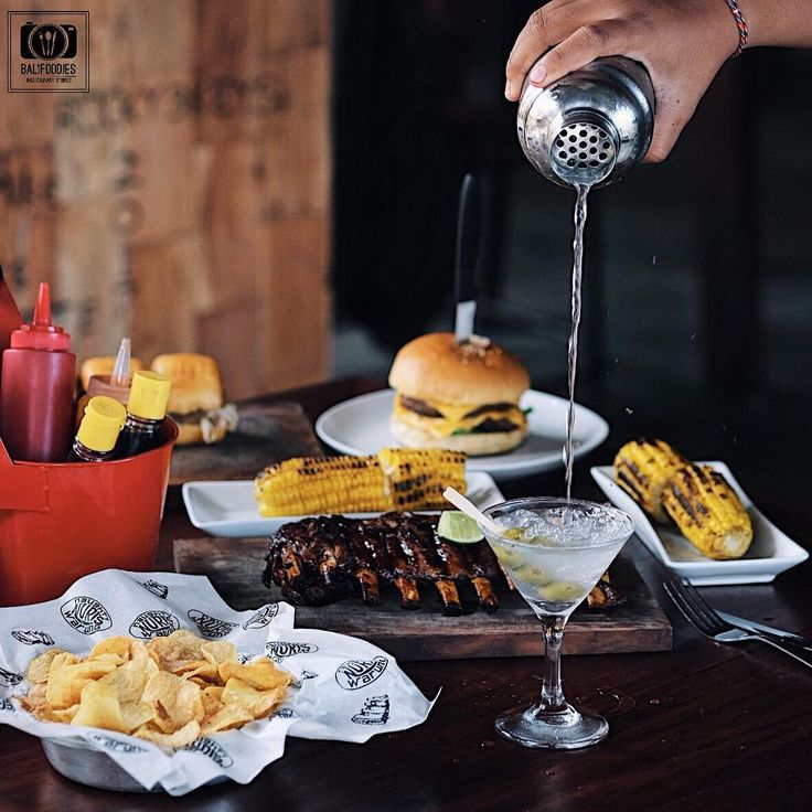 Taken by @balifoodies #fries #martini #cheeseburger #foodtography