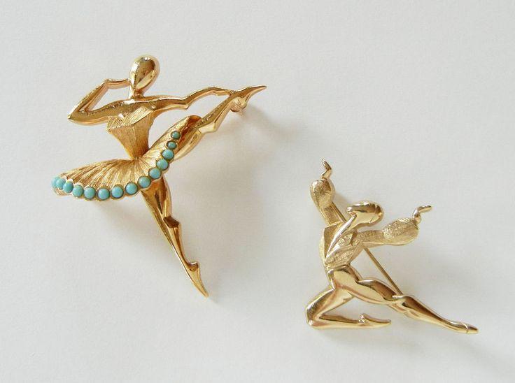 marcel boucher female male ballet dancer brooch pin set signed book piece