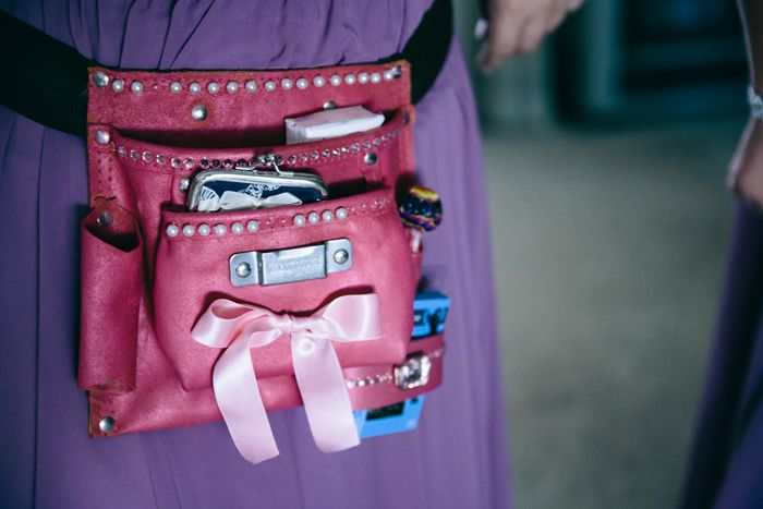 Bridesmaid gift - girly tool belts! Equipped with all of the wedding day needs.