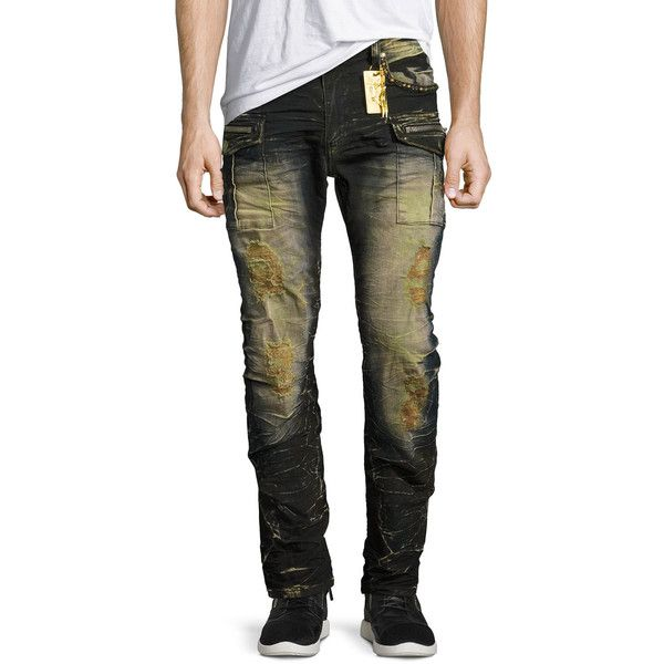 Robin's Jeans Distressed Cargo Skinny Jeans (569,330 KRW) ❤ liked on Polyvore featuring men's fashion, men's clothing, men's jeans, mens skinny jeans, mens distressed skinny jeans, mens ripped skinny jeans, mens bleached jeans and mens cargo pocket jeans