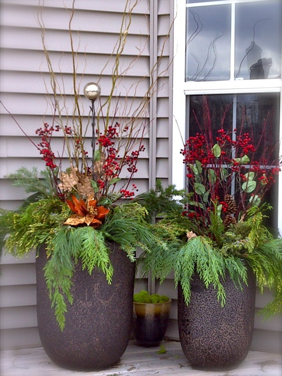 Christmas floral arrangement at the front door