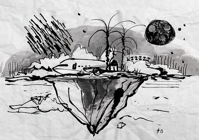 Unknown destination #03_Alice Ipotesi per la memoria di un misterioso incidente #03_Alice #mh370 #airplane #illustration #federicaTeti #fedushkaja #ink #night #island #volo