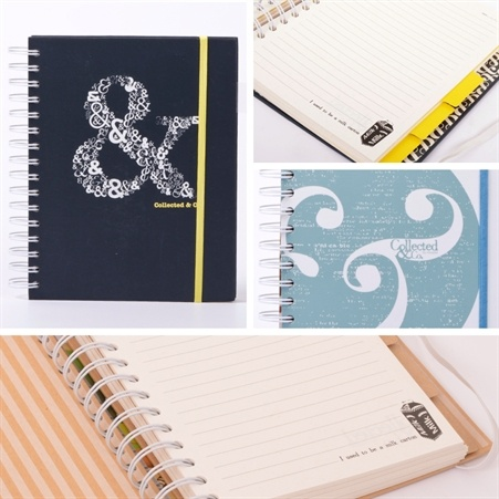 Collected & Co. Wire Notebook A5, 3 designs, recycled paper, $10.00