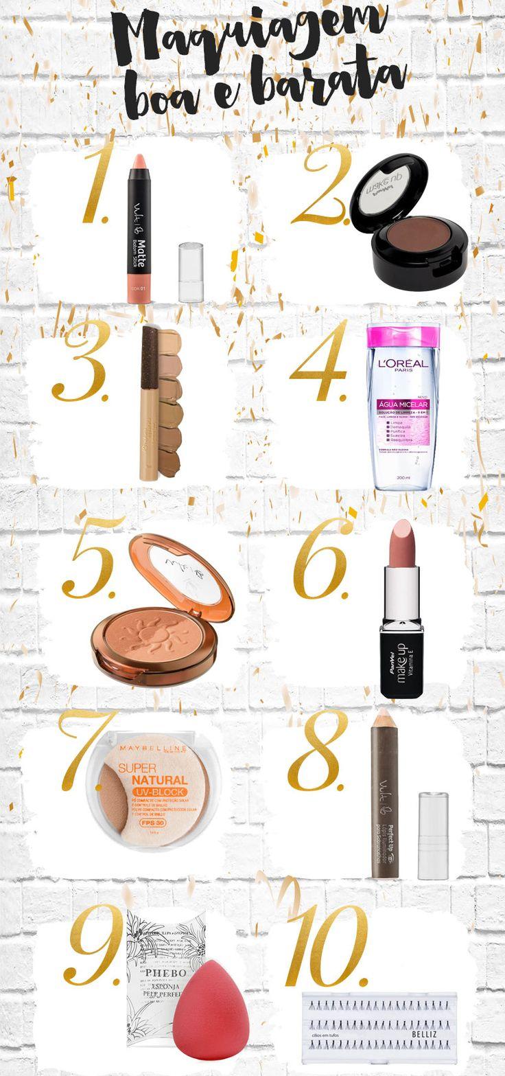 Top 10 maquiagem barata e boa por até R$25,00: pra encher a necessaire de produtos incríveis sem esvaziar a carteira, e sim, existem makes bons e baratos!