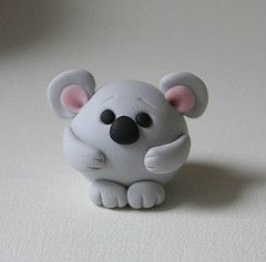 Round Koala Bear (fliepsiebieps_) Tags: bear pink sculpture cute grey miniature handmade gray australian australia polymerclay koala round kawaii figure figurine