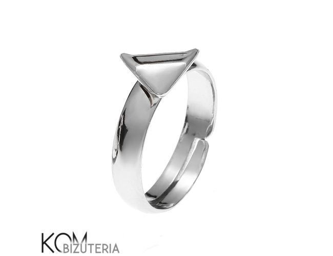 Silver ring base cube adjustable size P3/8 mm for proffesional and handmade jewelry from KOM Bizuteria by DaWanda.com