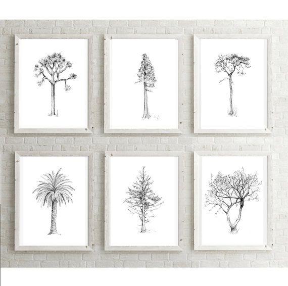 6 smalle boom tekeningen set 6 prints Boom van ZenInks op Etsy