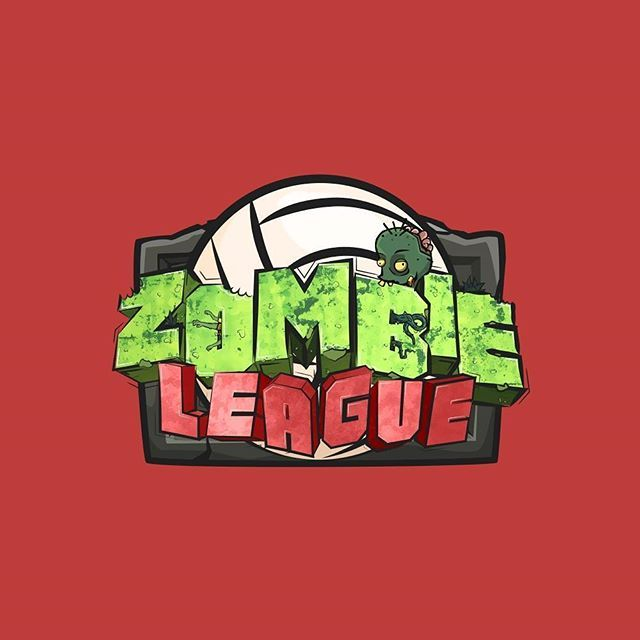 Zombie league, a sports game with a twist ___ #logo #logodesigner #graphicdesign #design #designer #branding #vector #flat #minimal #color #red #green #zombie #league #sport #volleyball #graveyard #2d #cartoon #dead #zombieleague