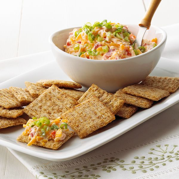 For a savory snack that everyone will love, serve this Cheddar and Pimento with hearty crackers.