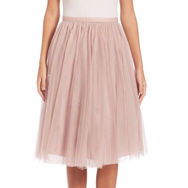 Jenny Yoo Lucy Tulle Midi Skirt ($190) ❤ liked on Polyvore featuring skirts, a-line skirts, long pink skirt, tulle skirt, knee length a line skirt and a line midi skirt