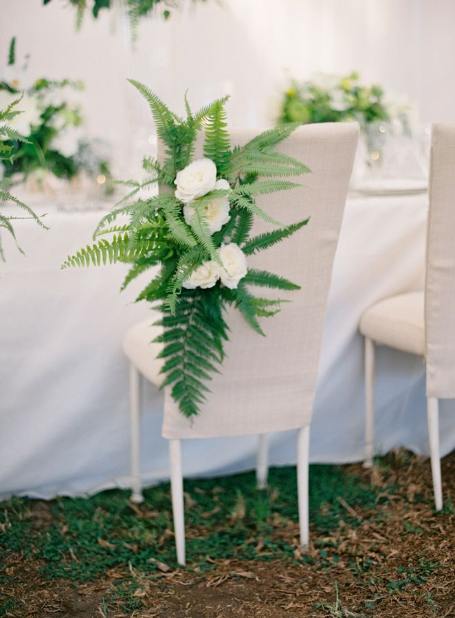 Elegant meets organic: Love the Ferns & creamy roses http://www.stylemepretty.com/2015/10/08/black-white-dos-pueblos-ranch-wedding/ | Photography: Jose Villa - http://josevilla.com/