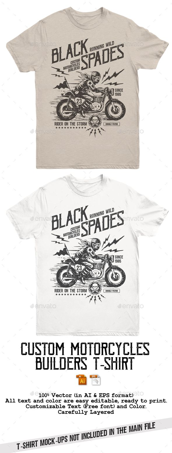 Black Spades Custom Motorcycles Builders T-Shirt