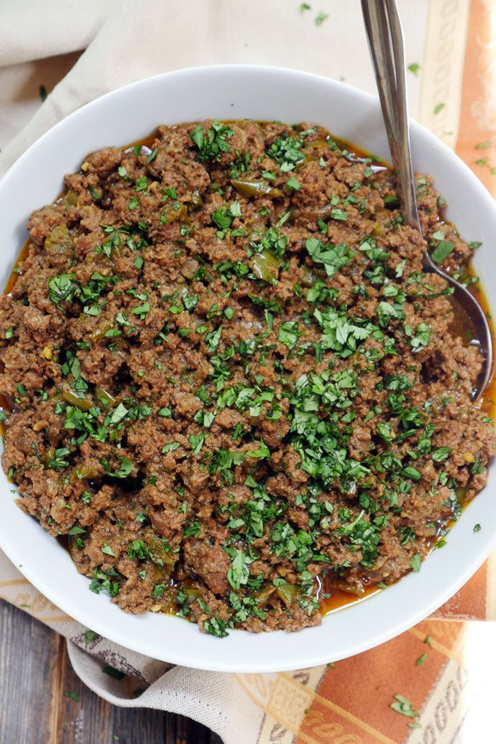 Instant Pot Taco Meat - ground beef (try with chicken or turkey), oil (would reduce), red onions, green bell peppers, garlic cloves, chili powder, oregano, salt, basil, turmeric, black pepper, paprika, cumin, cayenne, chipotle, fresh cilantro (for garnishing)