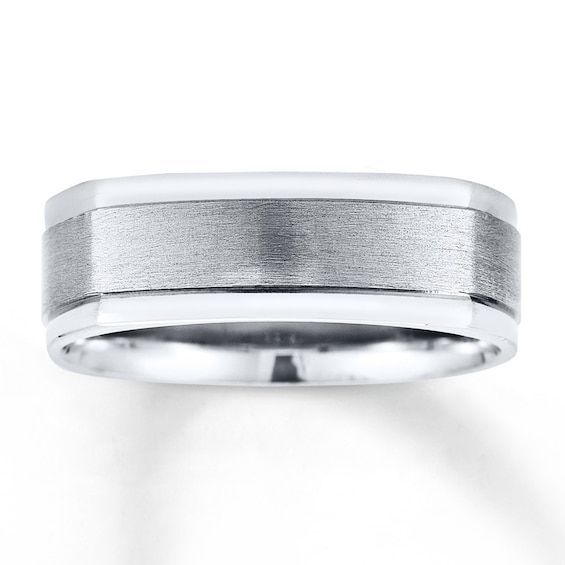 Wedding Band 14k White Gold 7mm Jared In 2020 Vintage Diamond Rings Unique Diamond Rings Mens Wedding Bands