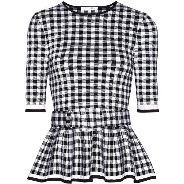 Oscar de la Renta Gingham wool-blend peplum top (33.895.100 IDR) ❤ liked on Polyvore featuring tops, blouses, half sleeve blouse, black white blouse, peplum top, flare blouse and slimming blouses