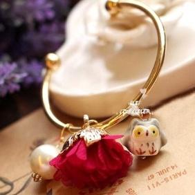 Antique Flower Owl Pearl Opening Bangle Bracelet