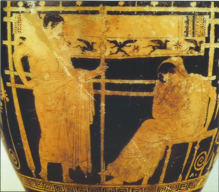 Telemachus And Penelope Red Figure Vase Dating To The Second Half Of The Fifth Century B C E