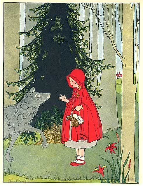 Vintage 1930 Red Riding Hood Fairy Tale Story Illustration Print by Margaret…