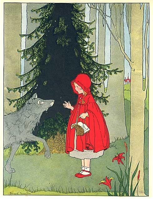 vintage fairy tale illustrations | Vintage 1930 Red Riding Hood Fairy Tale Story Illustration Print by ...