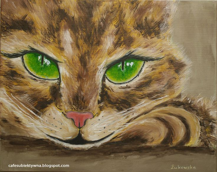 A cat with green eyes. Oil painting. Żukowska