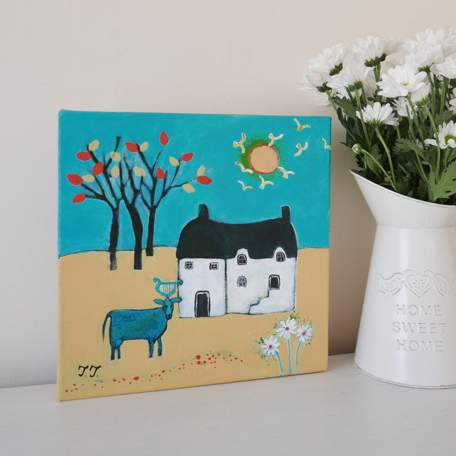 Surreal Landscape, Yellow and Turquoise Artwork, Countryside Painting £42.00