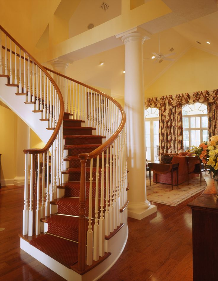 54 best images about home plans with splendid staircases for Curved staircase floor plans